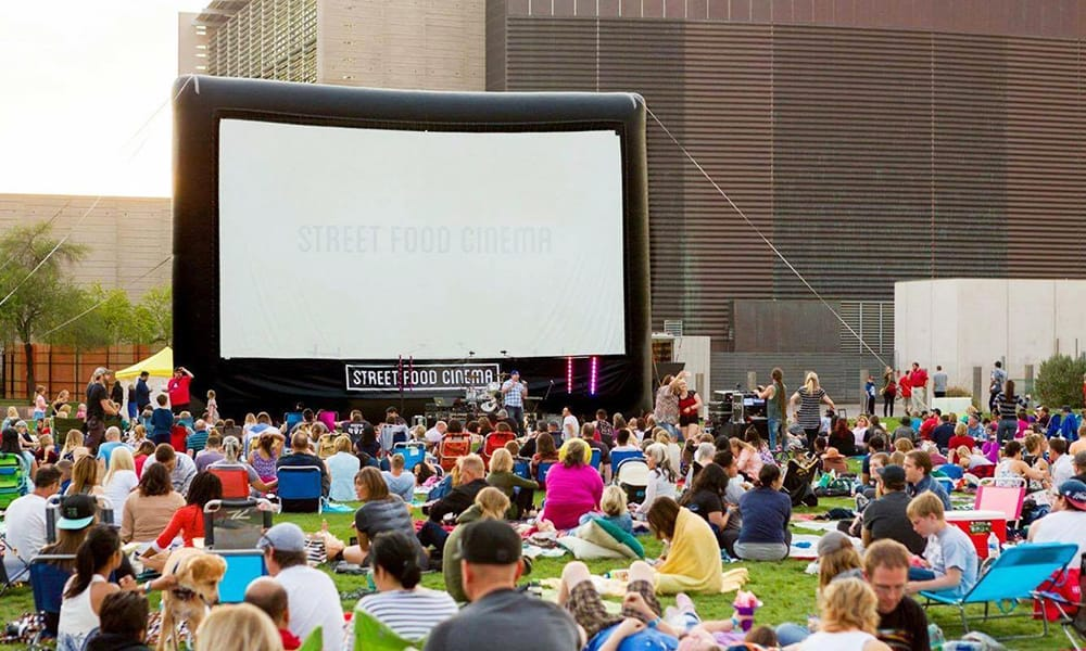 Dine from taco trucks outdoors and watch your favorite Halloween films all around the city of Los Angeles with Street Food Cinema showings